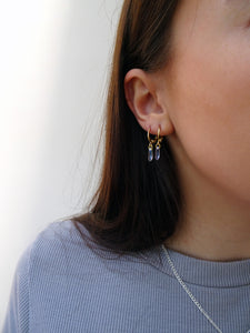 Teardrop Stone Gold Hoops