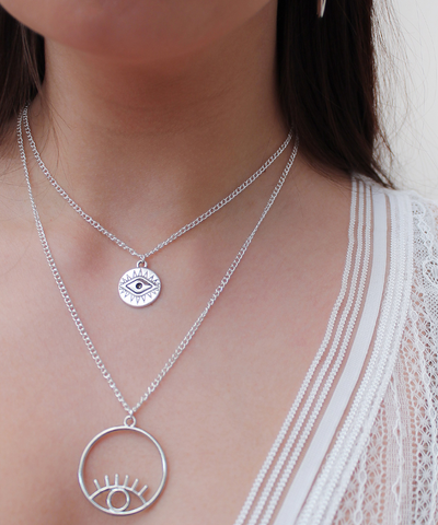 Keep An Eye Out Double Necklace - Silver