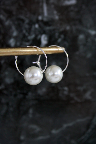 Single Faux Pearl Hoops - Gold/Silver