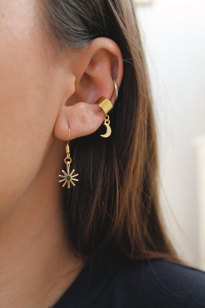 Pronged Star Hook Earrings - Silver / Gold