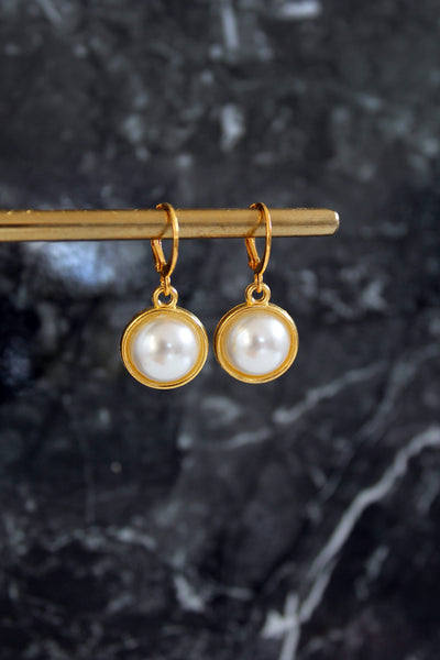 Faux Pearl Cabochon Charm Hoops - Gold/Silver/Rose Gold