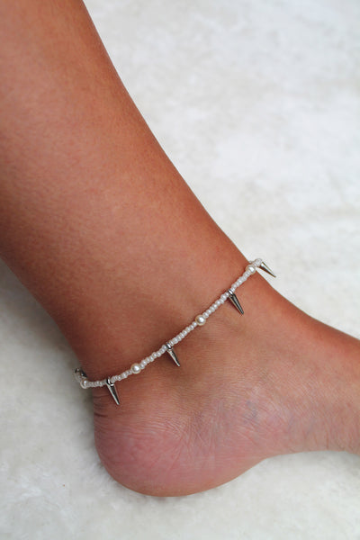 Pearl & Spike Anklet - Silver