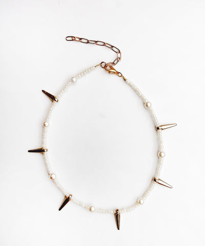 Pearl & Spike Anklet - Gold