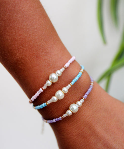 Beaded Pearl Bracelet - Purple/Pink/Blue