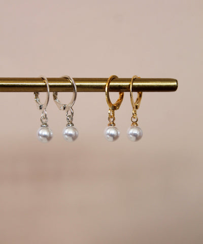 Mini Pearl Charm Hoops