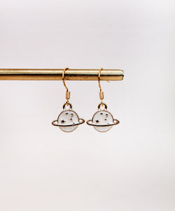Planet Saturn Charm Earrings