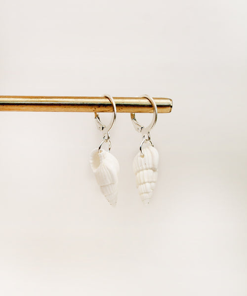 Real Sea Shell Hoops - Silver/Gold