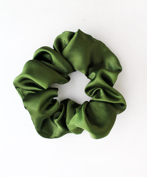 Olive Green Satin Hair Band Scrunchie