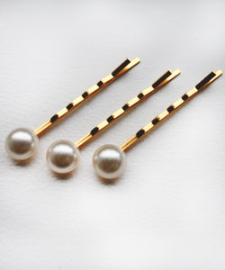 Set of 3 Pearl Cabochon Hair Slides - Silver / Gold