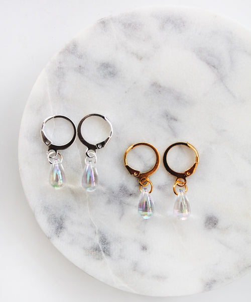 Iridescent Teardrop Hoops - Gold / Silver