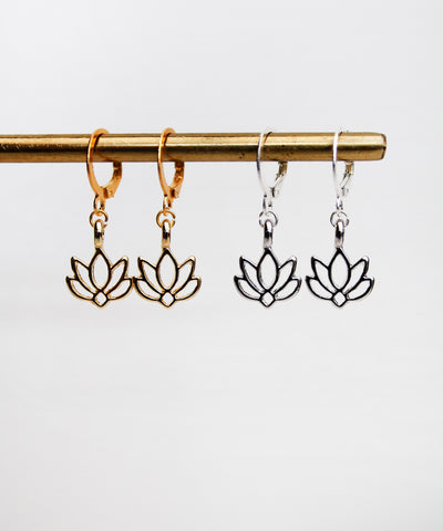Lotus Flower Hoops - Gold / Silver