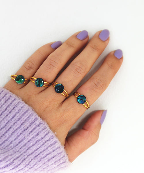Abalone Ring - Silver/Gold Band