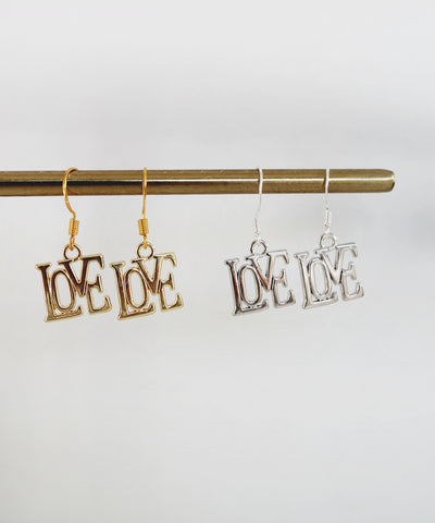 LOVE earrings - Gold / Silver