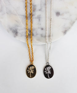 Flower Coin Necklace - Gold/Silver