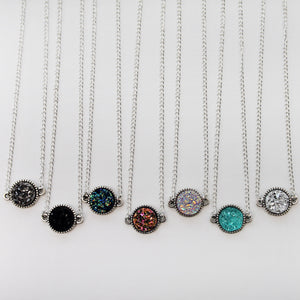 Round Druzy Necklaces