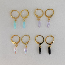 Load image into Gallery viewer, Teardrop Stone Gold Hoops