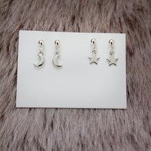 Load image into Gallery viewer, Silver Moon and Star Earrings