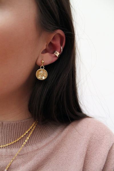 Gold Foil Dome Earrings - 3 Colours