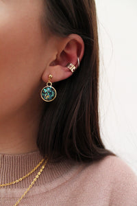 Golden Foil Dome Earrings