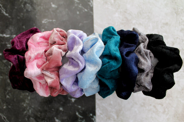 Baby Blue Crushed Velvet Hair Band Scrunchie