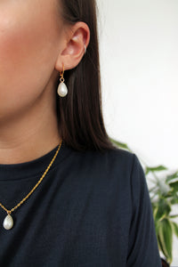 Golden Pearl Mini Hoops