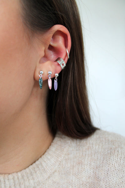 Colourful Teardrop on Silver Studs - 7 Colours