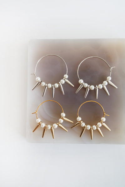 Faux Pearl and Spike Hoops - Gold/Silver
