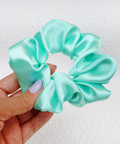 Mint Green Satin Hair Band Scrunchie
