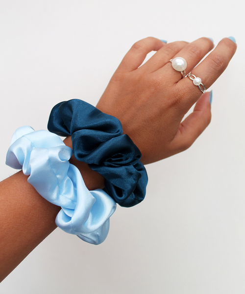 Teal Blue Satin Scrunchie