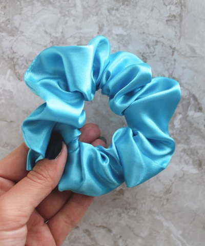Blue Turquoise Satin Hair Band Scrunchie