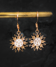 Load image into Gallery viewer, Celestial Sun Charm Golden Hook Earrings