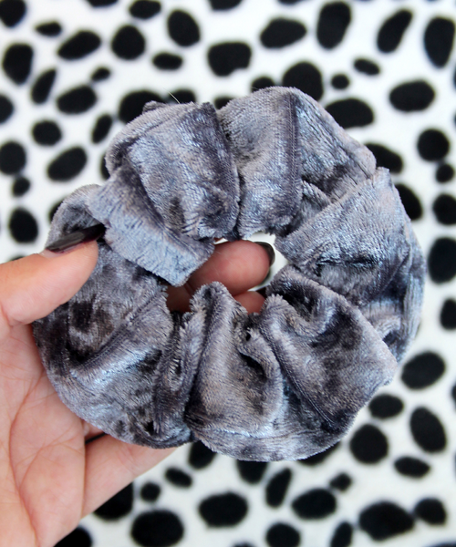 Charcoal Grey Crushed Velvet Hair Band Scrunchie