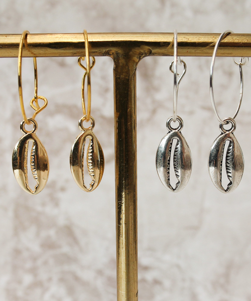 Cowrie Charm Shell Hoops