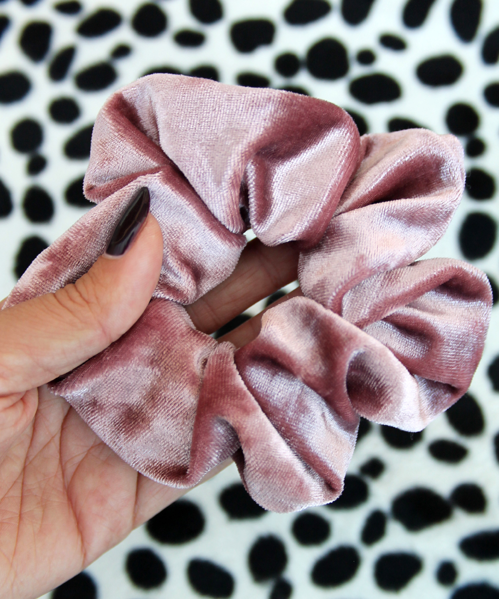 Dusty Pink Crushed Velvet Hair Band Scrunchie