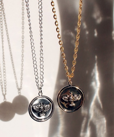 Eagle Coin Necklace - Gold/Silver