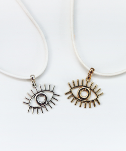 Eye Charm on Suede Choker - Gold/Silver