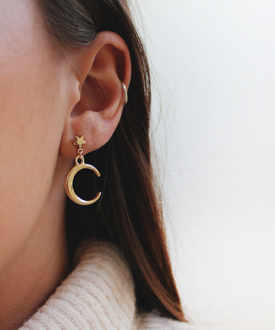 Golden Star and Moon Earrings