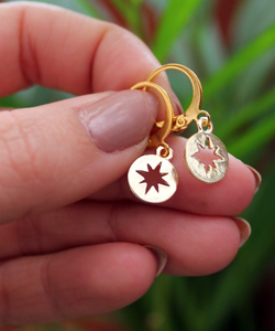Star Coin Gold Hoops