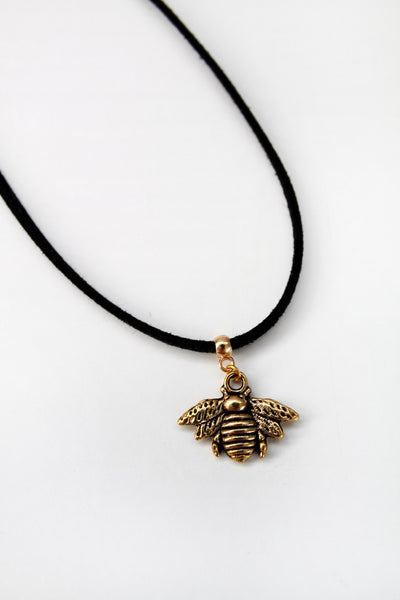 Bumble Bee Charm Suede Choker