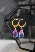 Load image into Gallery viewer, Coloured Teardrop Charm Hoops