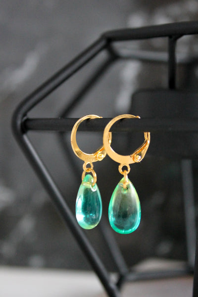 Coloured Teardrop Charm Hoops