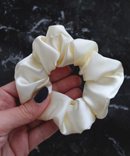Load image into Gallery viewer, Ivory Satin Hair Band Scrunchie