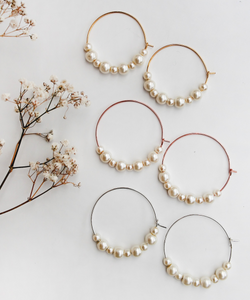 Large Faux Pearl Hoops - Gold/Silver/Rose Gold
