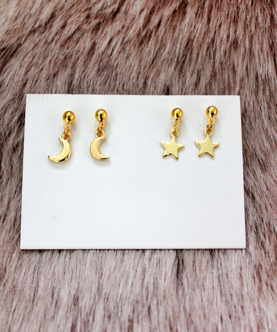 Golden Moon and Star Earrings - Set