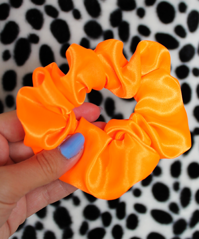 Neon Orange Satin Hair Band Scrunchie