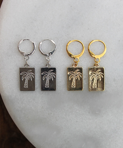 Palm Tree Tag Hoops - Gold/Silver