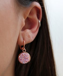 Rose Gold Druzy Hoops