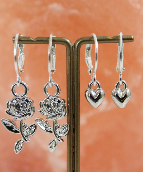 Rose or Heart Silver Hoops