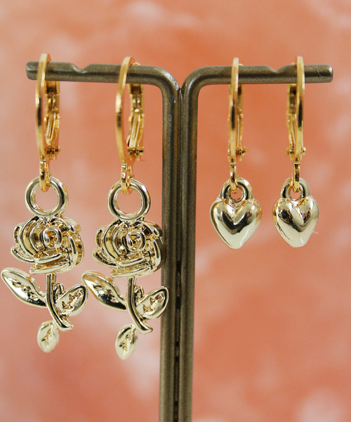 Rose or Heart Golden Hoops
