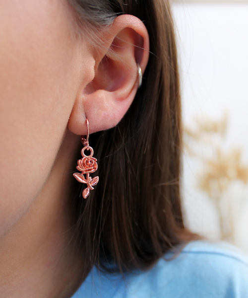 Valentines Rose Gold Charm Hoops